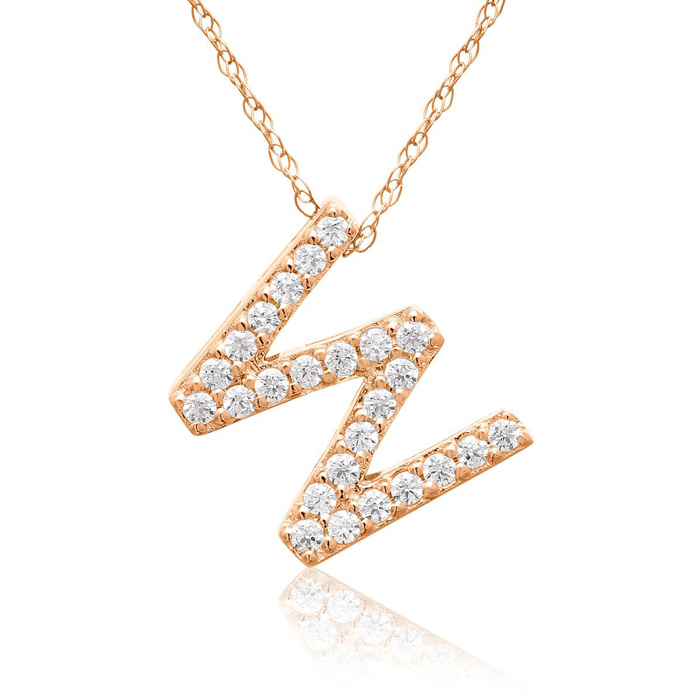 W Initial Necklace In 18K Rose Gold With 25 Diamonds