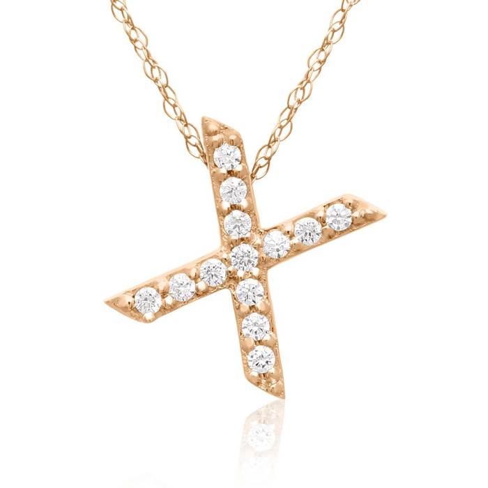 X Initial Necklace In 18K Rose Gold With 13 Diamonds