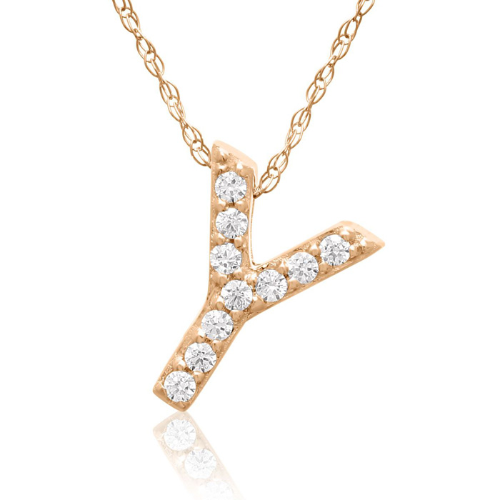Y Initial Necklace In 18K Rose Gold With 10 Diamonds