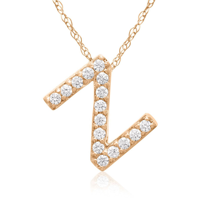 Z Initial Necklace In 18K Rose Gold With 16 Diamonds