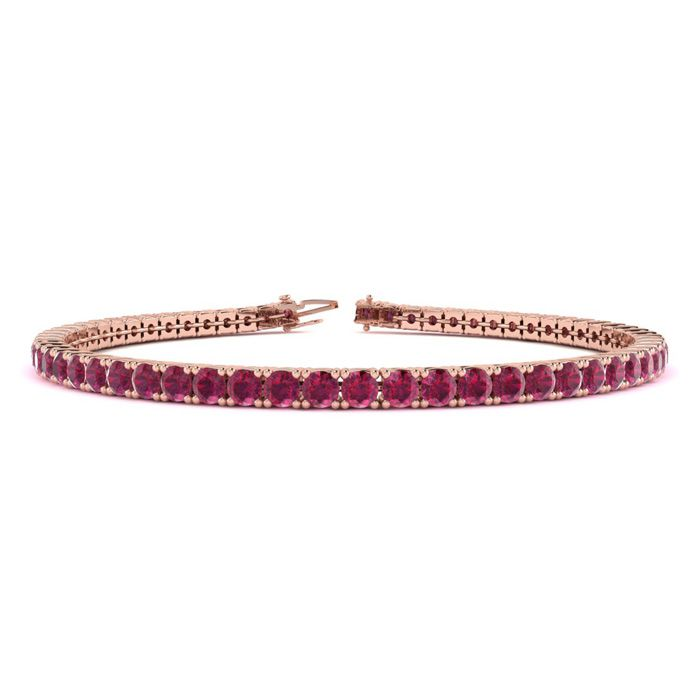 6.5 Inch 4 3/4 Carat Ruby Tennis Bracelet In 14k Rose Gold