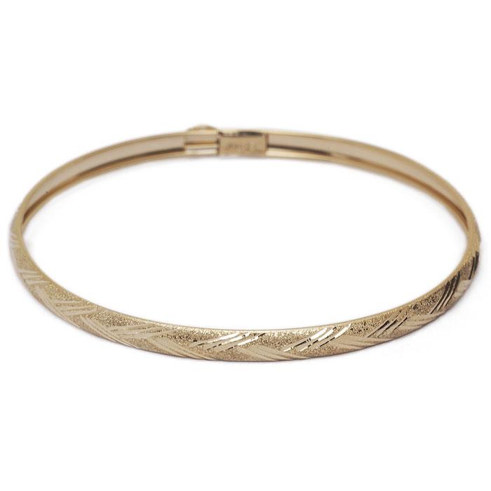 10K Yellow Gold Flexible Bangle Bracelet With Diamond Cut Design, 8 Inches