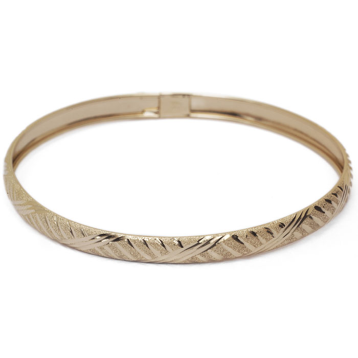 10K Yellow Gold Flexible Bangle Bracelet With Fancy Diamond Cut Design, 8 In..