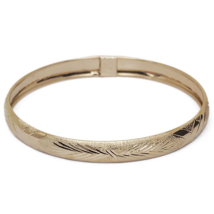 10K Yellow Gold Flexible Bangle Bracelet With Classic Diamond Cut Design, 7 ..