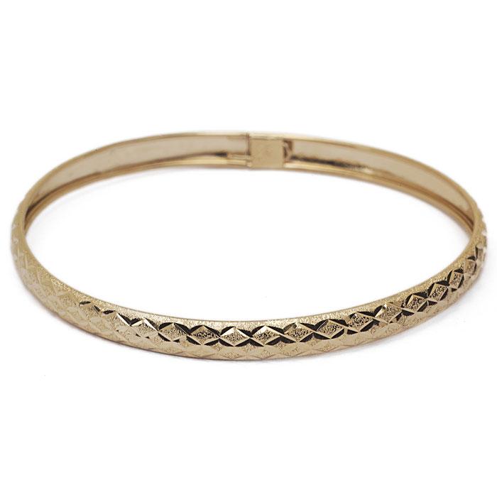 10K Yellow Gold Flexible Bangle Bracelet With Polished Diamond Cut Design, 7..