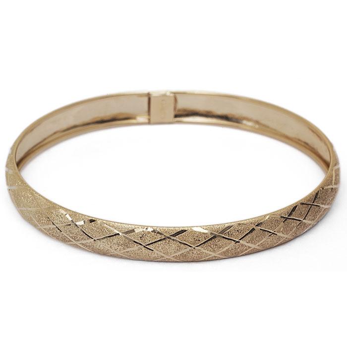 10K Yellow Gold Flexible Bangle Bracelet With Preppy Diamond Cut Design, 8 I..