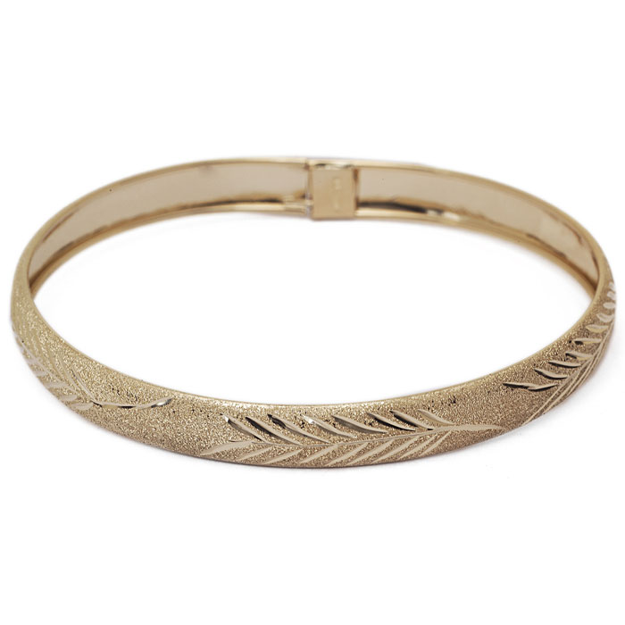 10K Yellow Gold Flexible Bangle Bracelet With Leaf Design, 8 Inches