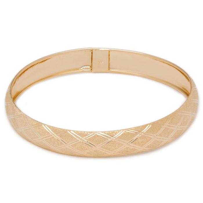 10K Yellow Gold Flexible Bangle Bracelet With Argyle Diamond Cut Design, 8 I..