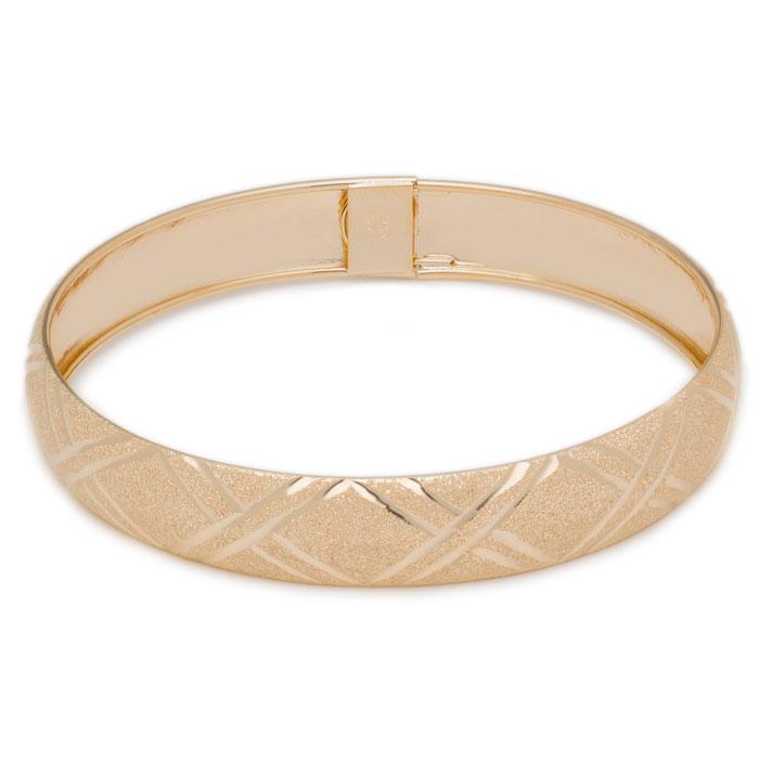 10K Yellow Gold Flexible Bangle Bracelet With Double X Diamond Cut Design, 8..