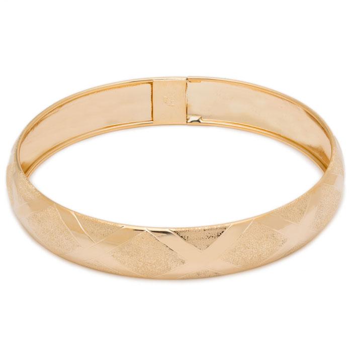 10K Yellow Gold Flexible Bangle Bracelet With High Polish Diamond Cut Design..