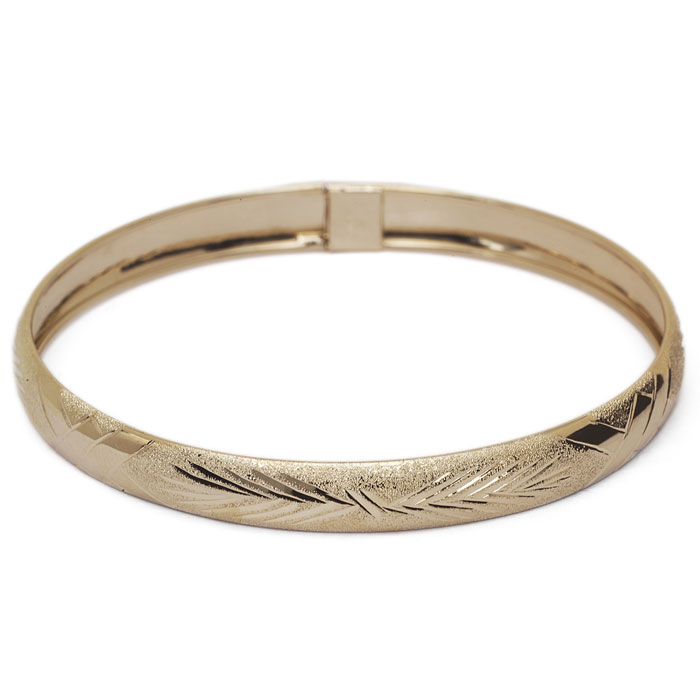 10K Yellow Gold Flexible Bangle Bracelet With Classic Diamond Cut Design, Av..