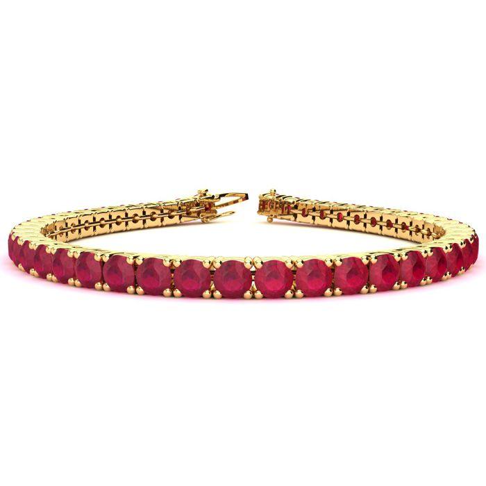 8 Inch 14 1/3 Carat Ruby Tennis Bracelet In 14k Yellow Gold