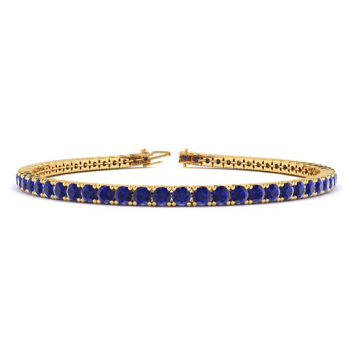 8 Inch 6 Carat Sapphire Tennis Bracelet In 14k Yellow Gold