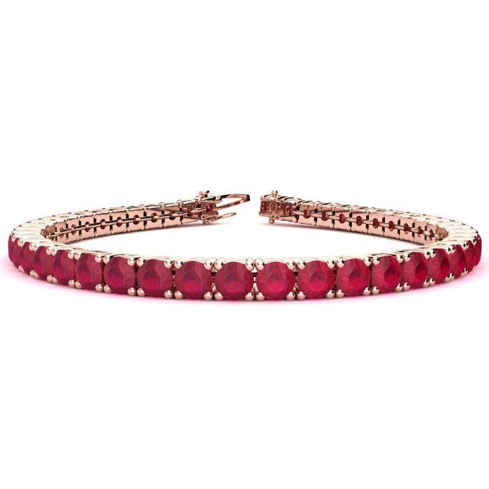 9 Inch 16 Carat Ruby Tennis Bracelet In 14k Rose Gold