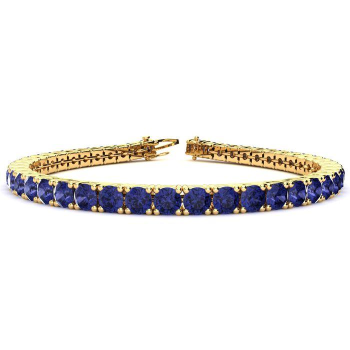 6.5 Inch 8 Carat Tanzanite Tennis Bracelet In 14k Yellow Gold