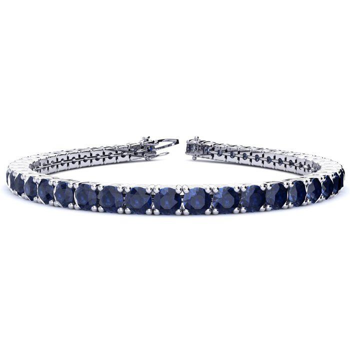 6.5 Inch 12 Carat Sapphire Tennis Bracelet In 14k White Gold