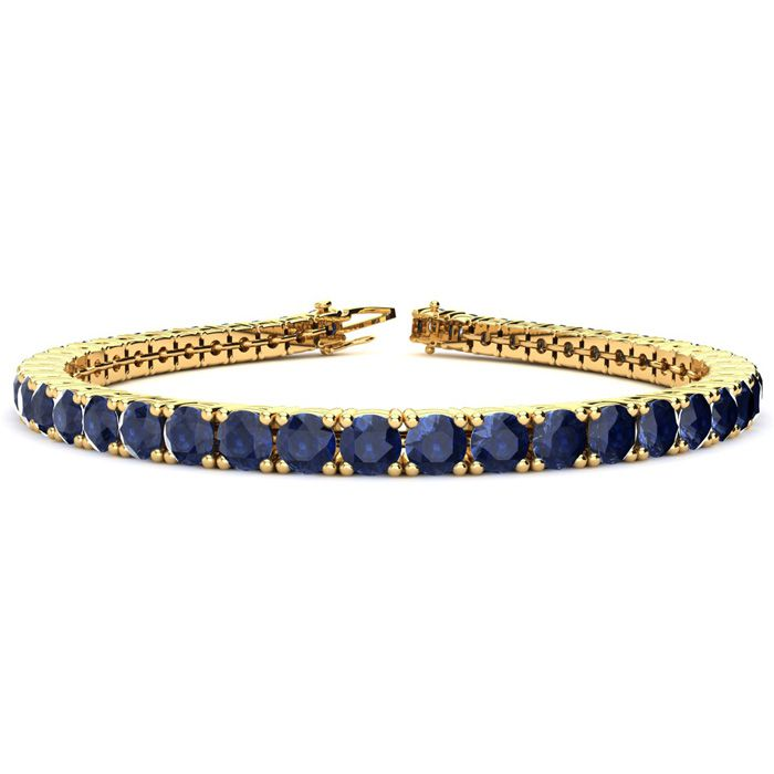 8 Inch 14 3/4 Carat Sapphire Tennis Bracelet In 14k Yellow Gold