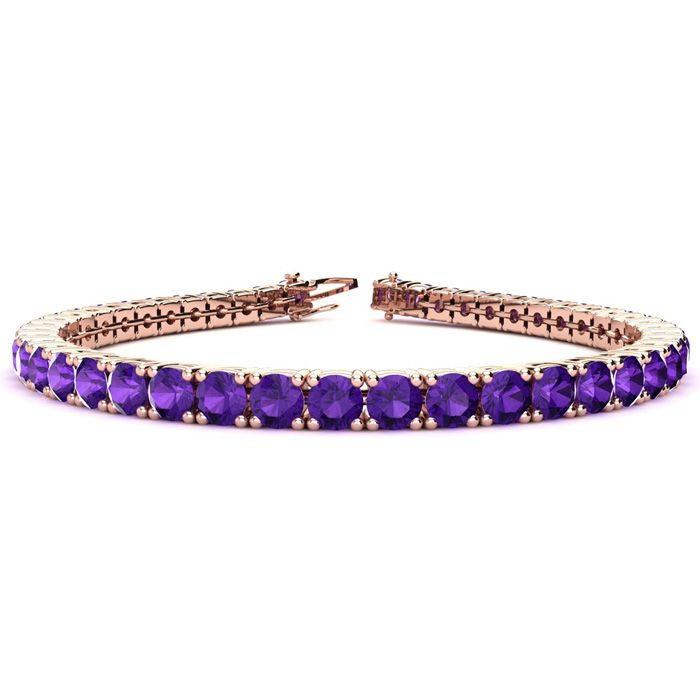 9 3/4 Carat Amethyst Tennis Bracelet In 14k Rose Gold Available In 6-9 Inch Lengths