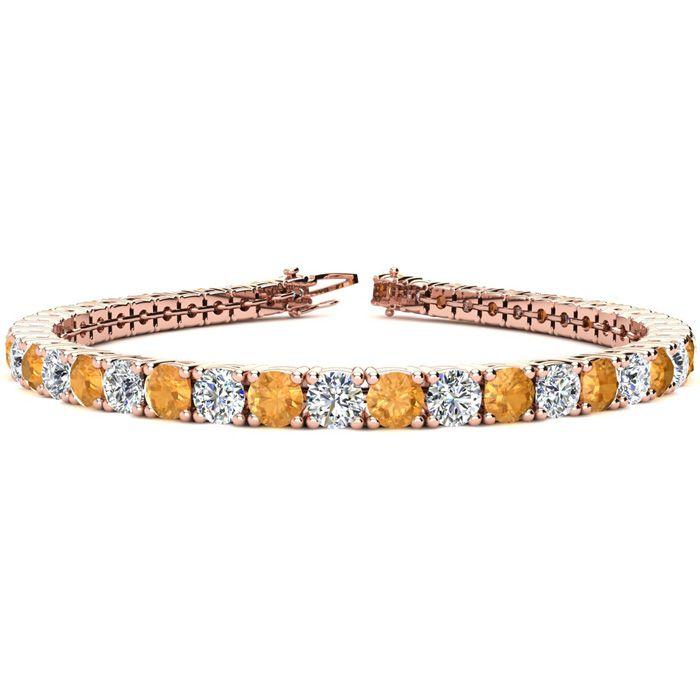 8.5 Inch 11 1/5 Carat Citrine And Diamond Tennis Bracelet In 14k Rose Gold