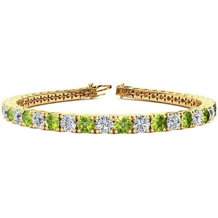 9 Inch 11 3/4 Carat Peridot And Diamond Tennis Bracelet In 14k Yellow Gold
