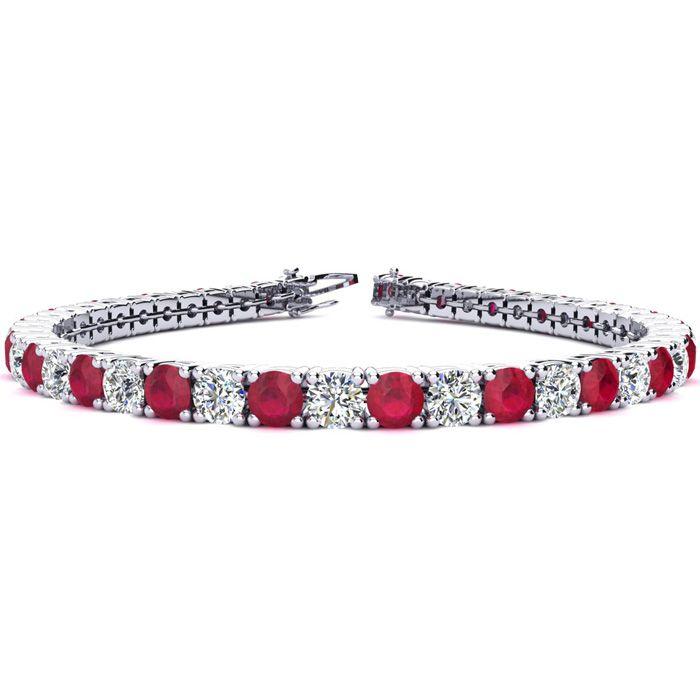 8 Inch 12 1/2 Carat Ruby And Diamond Tennis Bracelet In 14k White Gold