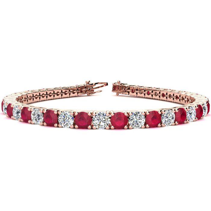 6.5 Inch 10 Carat Ruby And Diamond Tennis Bracelet In 14k Rose Gold