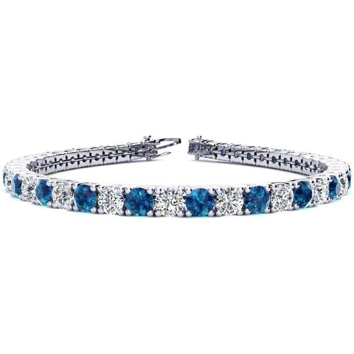 6.5 Inch 8 1/2 Carat Blue And White Diamond Tennis Bracelet In 14k White Gold