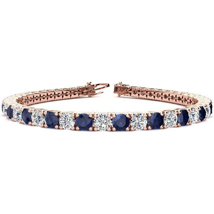6 Inch 9 1/3 Carat Sapphire And Diamond Tennis Bracelet In 14k Rose Gold