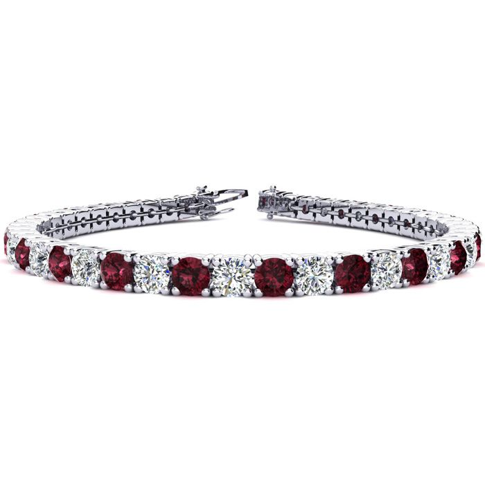 6 Inch 8 Carat Garnet and Diamond Tennis Bracelet In 14K White Gold 27362