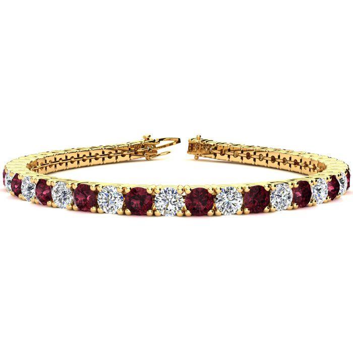 9 Inch 12 1/3 Carat Garnet And Diamond Tennis Bracelet In 14k Yellow Gold