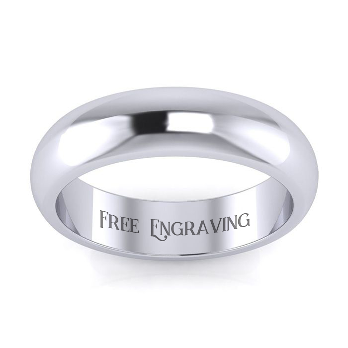 Platinum 5mm Heavy Comfort Fit Ladies And Mens Wedding Band, Size 15, Free Engraving