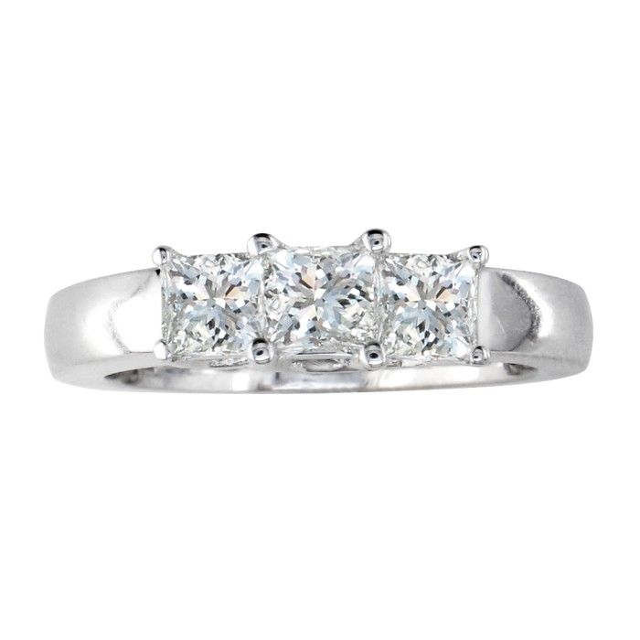 1.50ct Three Princess Diamond Ring in Platinum G-H Color SI1 Clarity