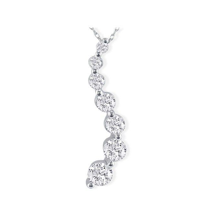 18k Curve Style 1 1/2ct 7 Diamond Journey Pendant in 18k White Gold