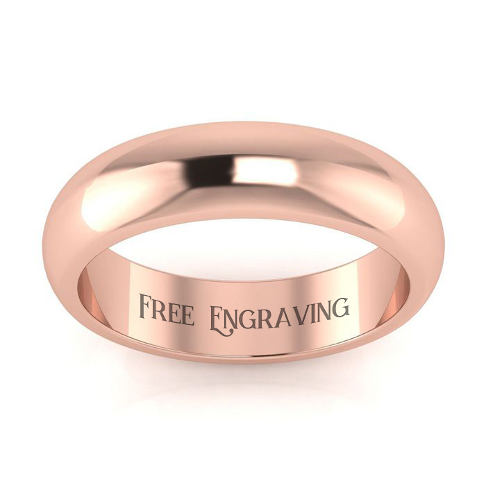 14k Rose Gold 5mm Heavy Ladies And Mens Wedding Band, Size 16.5, Free Engraving