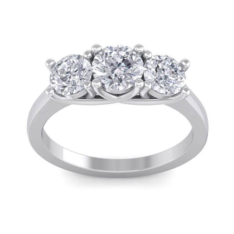 Huge 2ct Three Diamond Ring in 14k White Gold