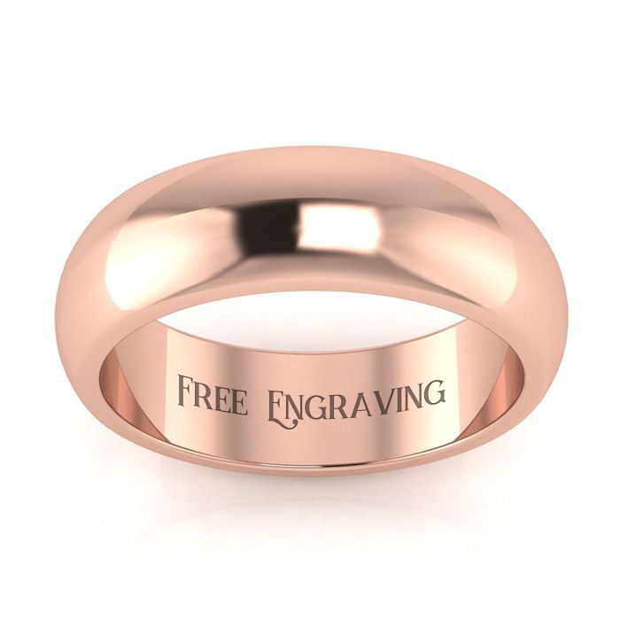 18k Rose Gold 6mm Heavy Ladies And Mens Wedding Band, Size 11.5, Free Engraving