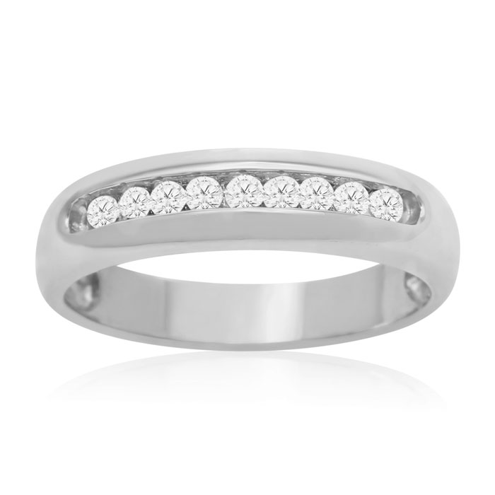 1/4ct Round Diamond Heavy Mens Wedding Band in 14k White Gold thumbnail