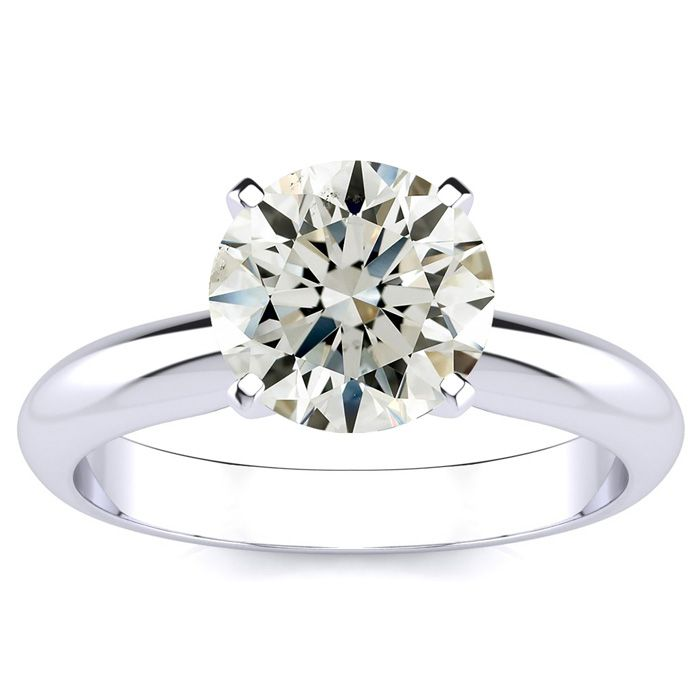 2ct Round Diamond Solitaire Ring in 14k White Gold, I, SI3/I1