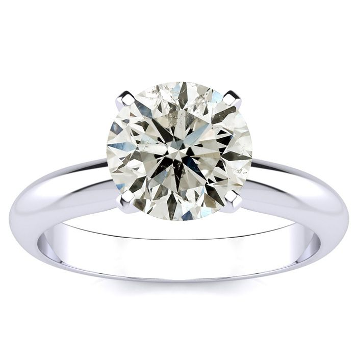 2ct Round Diamond Solitaire Ring in 14k White Gold, J, I1