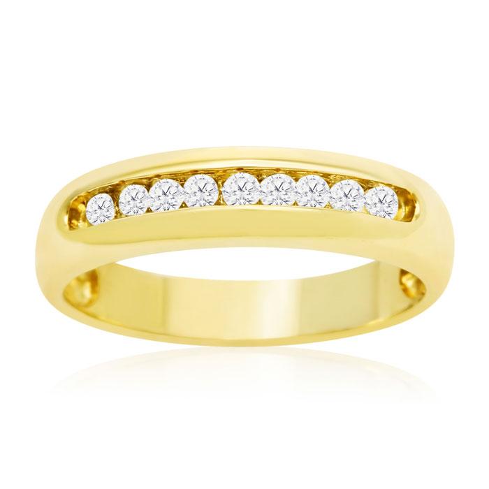 1/4ct Round Diamond Heavy Mens Wedding Band in 14k Yellow Gold thumbnail