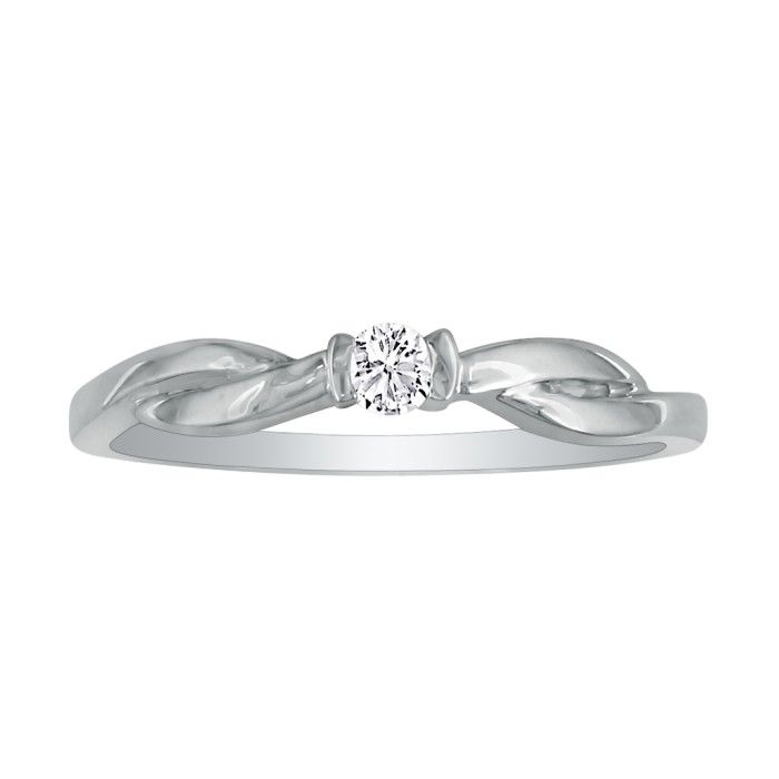 beautiful twist band 07ct promise ring in 10k
