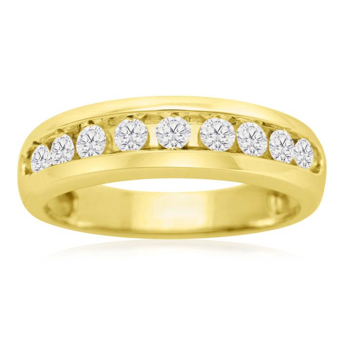 1/2ct Round Diamond Heavy Mens Wedding Band in 14k Yellow Gold thumbnail