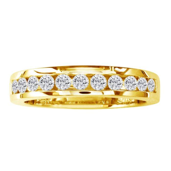 1ct Round Diamond Heavy Mens Wedding Band in 14k Yellow Gold thumbnail