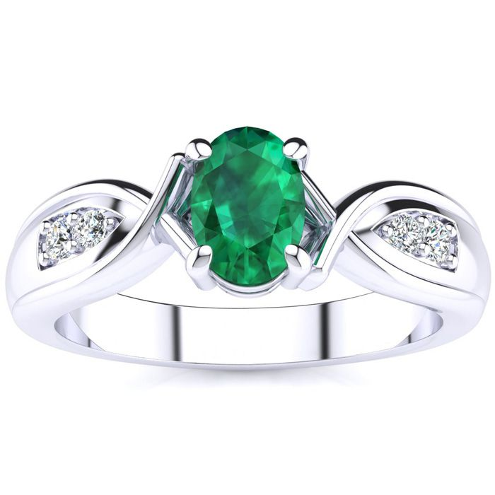 Unique Oval Emerald And Diamond Ring In 10k White Gold