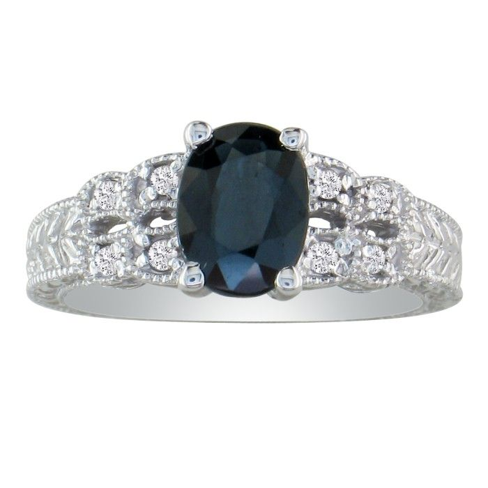 1 1/2ct Sapphire And Diamond Ring In 10k White Gold
