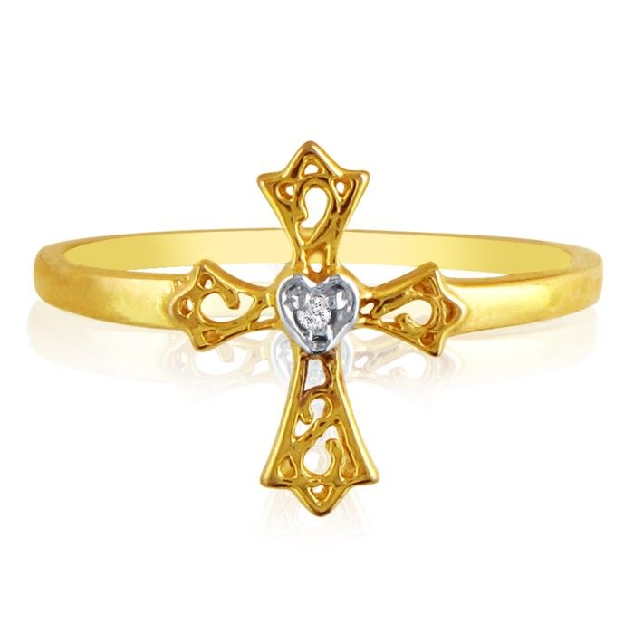 10k Yellow Gold Cross and Diamond Heart Ring thumbnail