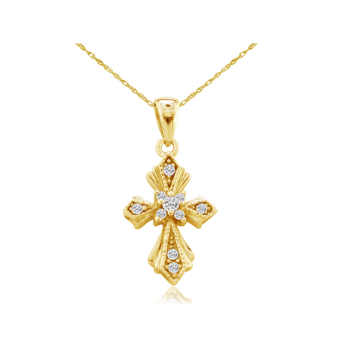 Pretty and Understated 14k Yellow Gold Diamond Cross Pendant