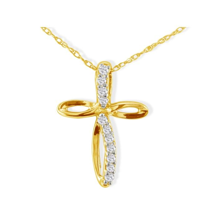 .12ct Journey Diamond Cross Pendant in 10k Yellow Gold