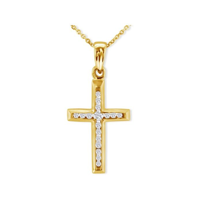 1/8ct Diamond Cross Pendant in 10k Yellow Gold