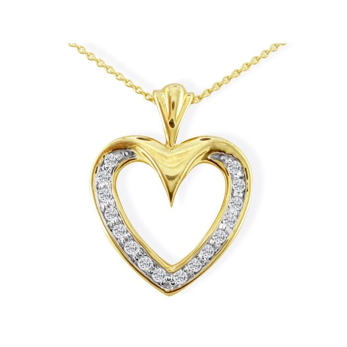10k Yellow Gold 1/2ct Diamond Heart Pendant, 2 Star Diamonds